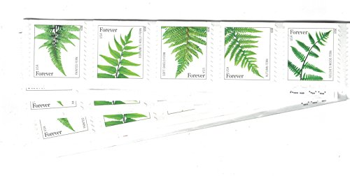 USPS Ferns Stamps - 50 Forever Stamps (5 Strips of 10 Stamps) (Strip Stamp)