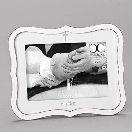 White Baby Baptism Picture Frame, 8 1/4 Inch