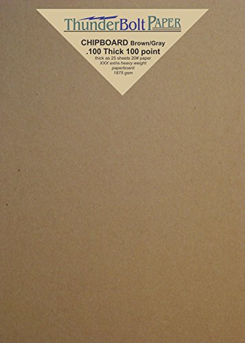 10 Sheets Brown Chipboard 100 Point Extra Thick 5 X 7 Inches Photo & Card Size .100 Caliper XXX Heavy Cardboard as Thick as 25 Sheets 20# Paper by ThunderBolt Paper