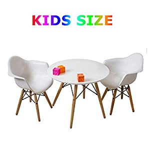 Buschman Set Of White Eames Style Kids Dining Room Mid Century Wooden Legs  Table And Two Chairs, Armchairs