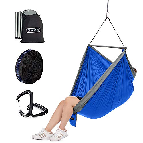 CHILLOUT POD Travel Hammock Chair, Lightweight Hanging Chair, Ultra Compact and Portable, One Minute Setup, Multiple Seating Positions, Foldable One-Piece System, Blue