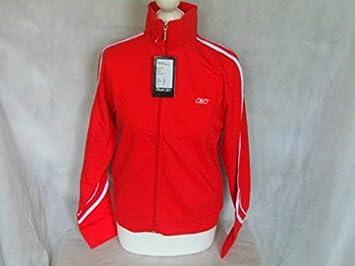 ladies-womens Reebok formación deportes chaqueta de chándal rojo ...