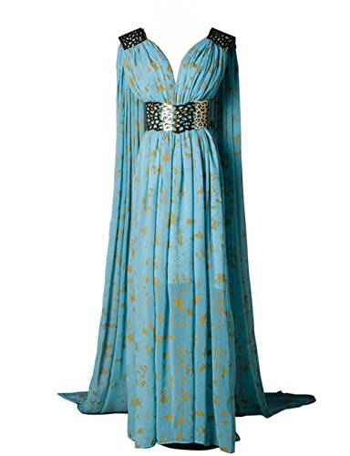 O-O Cosplay Womens Blue Long Dress Dinner Dress Halloween Cosplay Costume (Woman-XS, Blue)