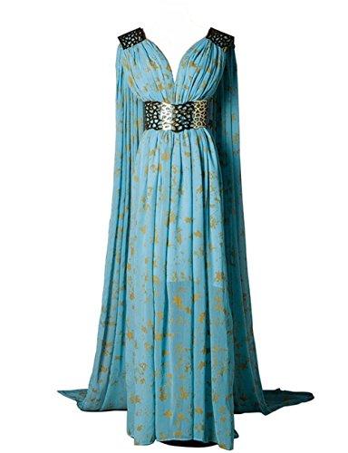 [O-O Cosplay Womens Blue Long Dress Dinner Dress Halloween Cosplay Costume (Woman-XS, Blue)] (Daenerys Costume For Sale)