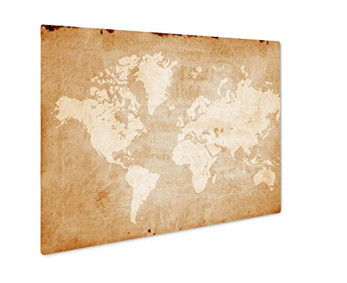 (Ashley Giclee Vintage World Map Retro Paper Ancient History World Map, Wall Art Photo Print On Metal Panel, Color, 8x10, Floating Frame, AG5810842)