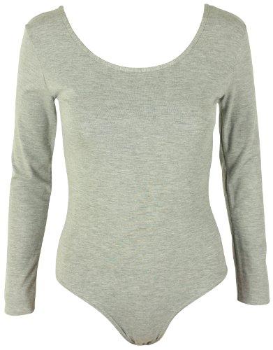 Camiseta de manga larga para body de maillot de elástico una pieza para mujer cuello redondo Top gris claro