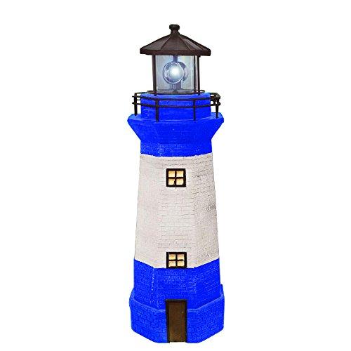 Electric Lighthouse (Hongville Landscape Spotlights Garden Decor Solar Powered Led Lighthouse With Revolving Beacon, Large, Blue)