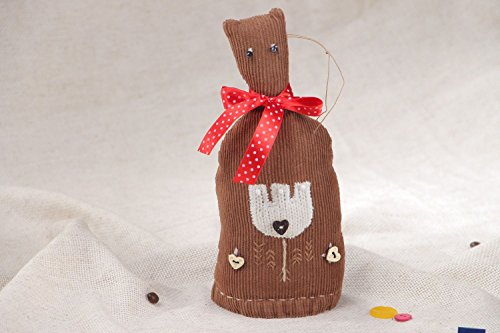 Velvet Eyelet - Small Handmade Soft Toy Sewn Of Velvet With Eyelet Brown Cat With Red Bow