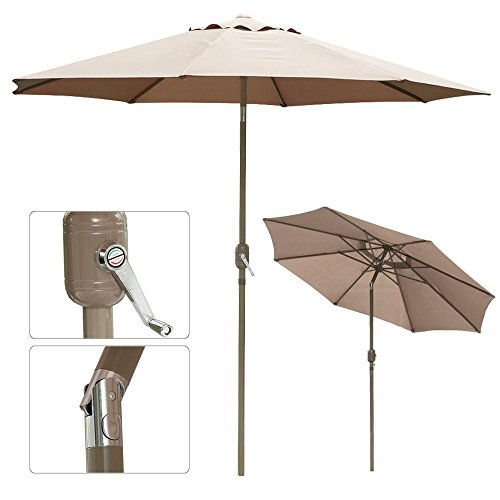 102' Aluminum Umbrella (go2buy Outdoor Patio Umbrella 45 Degree Push Button Tilt W/ Crank Tilt UV Protection Great for Garden Pool Side Beach Hotel etc. (Tan 10ft))