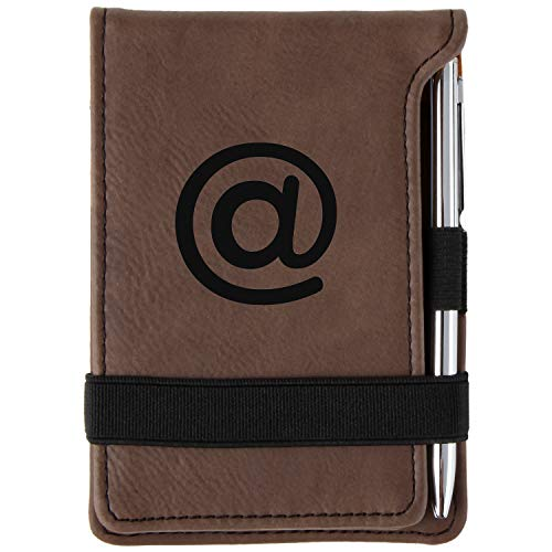 At Sign Engraved Leather Personalized Mini Notepad With Pen