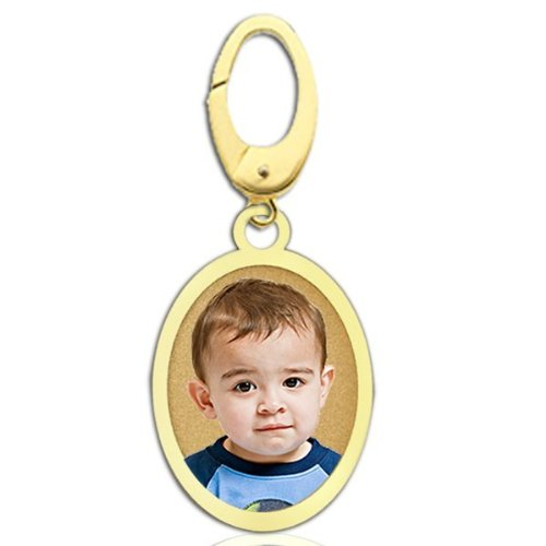 Bracelet 14k Oval Charm (Petite Oval with Border Photo Charm For Bracelet - 1/2 inch x 3/4 inch Solid 14K Yellow Gold)
