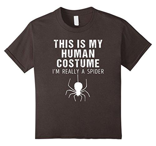 Kids Funny I'm Really a Spider Halloween Shirt Costume 4 Asphalt