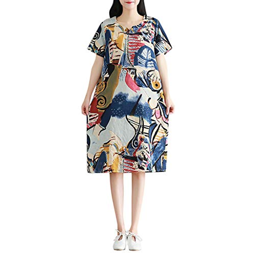 (OrchidAmor Womens V-Neck Vintage Abstract Print Short Sleeve Cotton Linen Plus Size Dress)