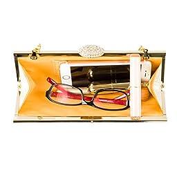 ECOSUSI Elegant Rhinestones Clasp Flap Clutch Evening Handbag Purse Gold