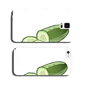 Sliced cucumber isolated on a white background. Color line art cell phone cover case Samsung S6