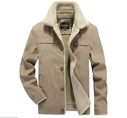 Novel Fashion Men Casual Sherpa Fleece Lined Cotton Jacket Stand Collar Warm Coat with Fur Collar (Khaki, M)