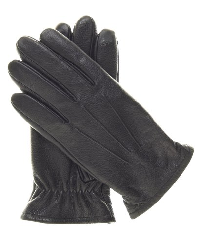 Pratt and Hart Men's Thinsulate Lined Touchscreen Leather Gloves Size XXL Color Black