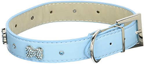 Parisian Pet Diamante Bones Dog Collar, Large, Blue