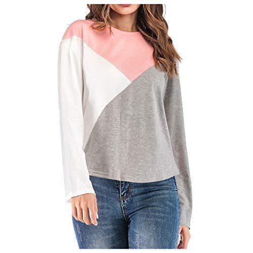 Price comparison product image HpapadksLadies Loose Irregular Pattern Patchwork Soft Sweatshirt Winter Slim Panelled Round Collar Long Sleeve Top