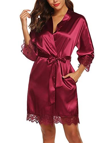 Kimono Dressing Gowns - URRU Women Satin Robe Bridal Dressing Gown Wedding Bride Bridesmaid Kimono Sleepwear Wine Red XL
