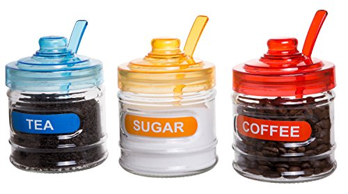 Red Co. Kitchen Glass Food Canister, Sugar Coffee Tea Glass Storage Containers with Multicolor Lids and Serving Spoons, Set of ()