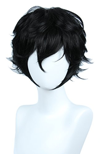 Linfairy Short Black Layered Cosplay Wig Halloween Costume Wig for Men]()