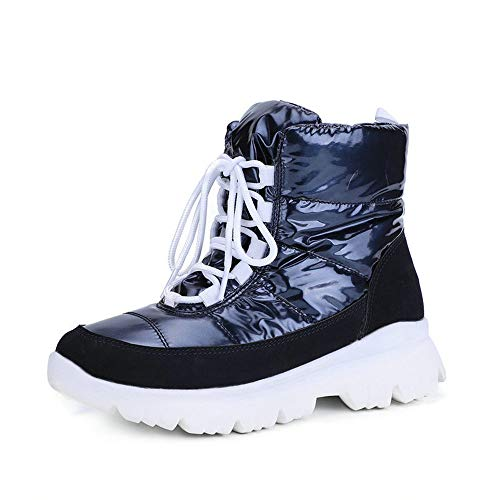 XMJM Impermeables Botas De Mujer Nieve, Zapatos De Cordones Botas ...