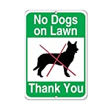 OSWALDO No Dogs On Lawn Thank You Pet Animal Sign Aluminum Metal Sign