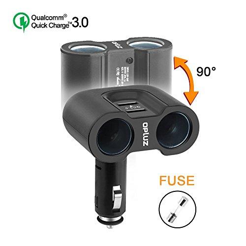 Opluz Quick Charger QC3.0 Car Adapter, Car Charger Adapter Dual 2 USB 2 Socket Car Splitter Adapter - 2 Socket + 1 QC3.0 USB Port + 1 Universal USB Port