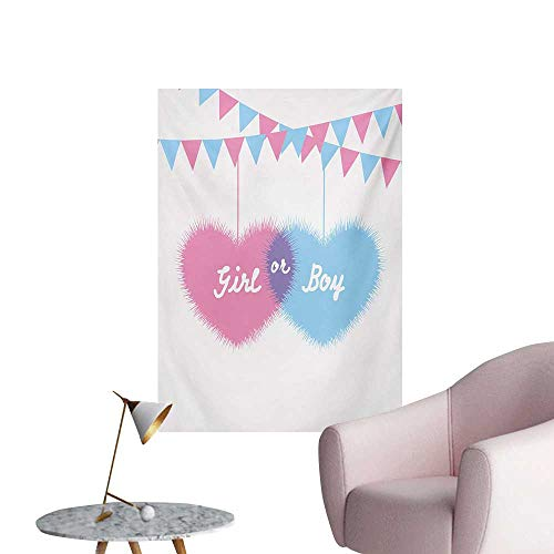 Anzhutwelve Gender Reveal Art Stickers Girl and Boy Hearts Flags Celebration for Newborn in The FamilyPale Pink and Blue W24 xL36 Art Poster