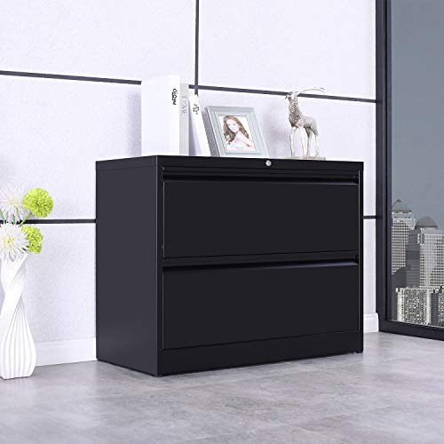 ModernLuxe Heavy-Duty Lateral File Cabinet Black, 2-Drawers 35.4W17.7D28.4H