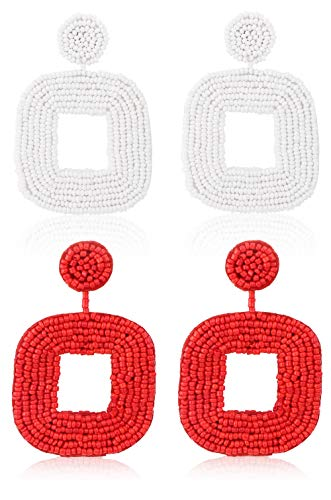 Sllaiss 2 Pairs Large Statement Beaded Dangle Earrings for Women Bohemian Style Wire Wrapped Square Hoop Drop Earrings Set