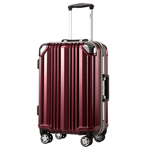 Coolife Luggage Aluminium Frame Suitcase TSA Lock 100% PC 20in 24in 28in (Wine red, M(24in))