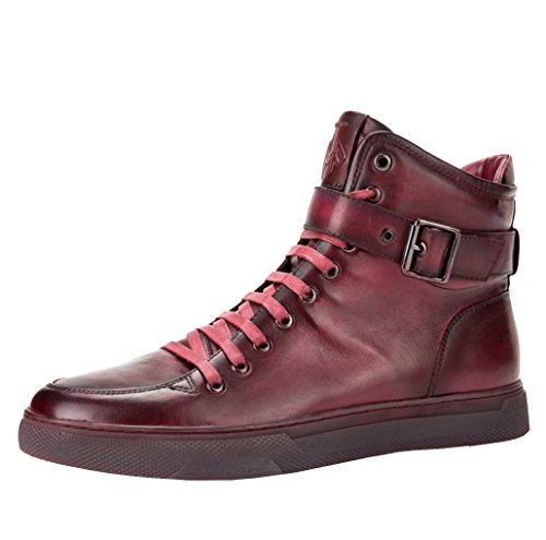 JUMP NEWYORK Men's SULLIVAN Round Toe Hand-Painted Leather Lace-Up Inside Zipper and Strap High-Top Sneaker Burgundy