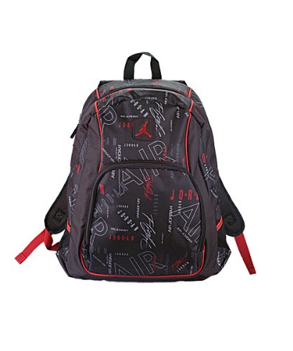 Jordan Boys Black & Red Print Backpack (Print)