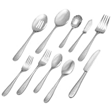 Stone & Beam Traditional Stainless Steel Flatware Set, Service for 8, 45-Piece, Silver with Hammered Trim
