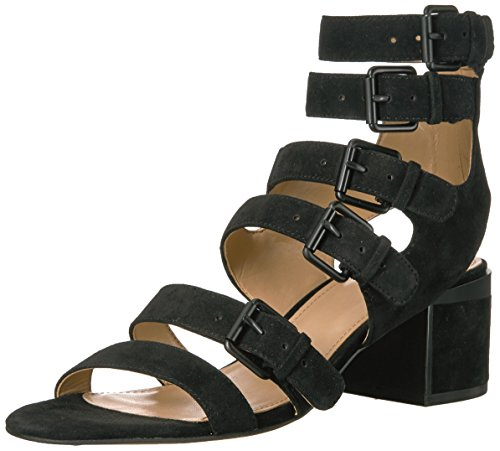 (Amazon Brand - The Fix Women's Dolly Block Heel Buckle Gladiator Sandal,Black,6 B US)