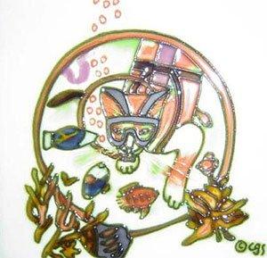 Chucky Cat Takes a Dive Decorative Ceramic Wall Art Tile 4x4