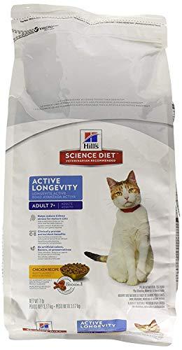 HillS Science Diet Senior Cat Food, Adult 7+ Active Longevity Chicken Recipe Dry Cat Food, 7 Lb Bag