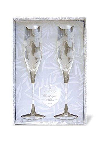 Plumeria Etched Champagne Flute Set