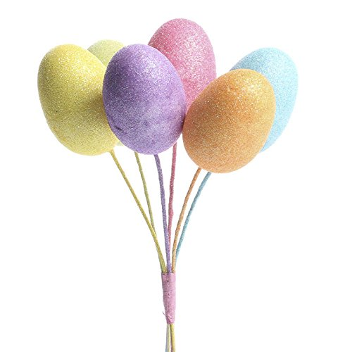 Craft 2 Bundles of Glittery Pastel Styrofoam Eggs on Stems for Home Decor,