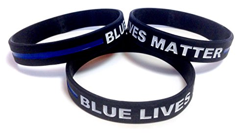 3 Pack of BLUE LIVES MATTER Thin Blue Line Rubber Wristband Silicone Bracelet (Black, Adult (8