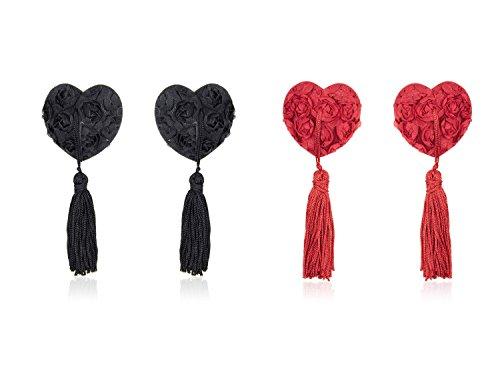 Riutilizzabile Pasties Cuore A forma Una amp;rosso Nipple Nero Coppia coppia silicone 2 cuore in di Donna Copricapezzoli di scintillante Domowin Cover Rose w7YqIO