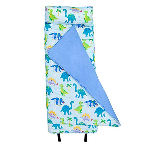 Wildkin Original Nap Mat, Features Built-in Blanket and Pillow, Perfect for Daycare and Preschool or Napping On-The-Go, Olive Kids Design – Dinosaur Land