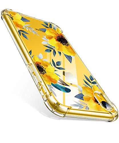 MAHYVE Case for iPhone XR, Girls Crystal Clear Embossed Flower Pattern Design Soft Flexible TPU Shockproof Transparent Full-Body Protective Women Floral Cover, Case for iPhone XR 2018 (Sunflower)