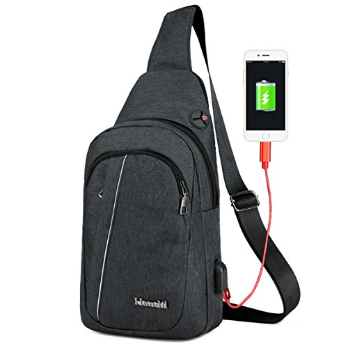 Port Womens Weight And Men Multi Sports Usb Black Useful Daypack Light pockets Shoulder Earphone Bag Charging Chest Niceeday With Hole Travel q0EpcZn0