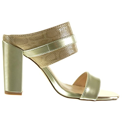 Gold Fashion Angkorly Block Heel Buckle cm Golden Shoes High Mules Snakeskin Sandals Women's 10 H55UqO