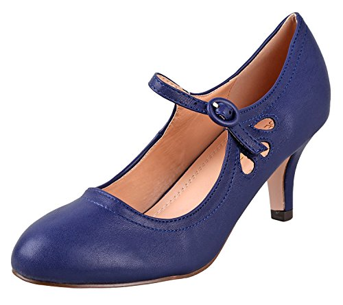 Chase & Chloe Women's Kimmy-21 Low | Mid Heel Shoes | Mary Jane | Pumps | Navy Low 8.5