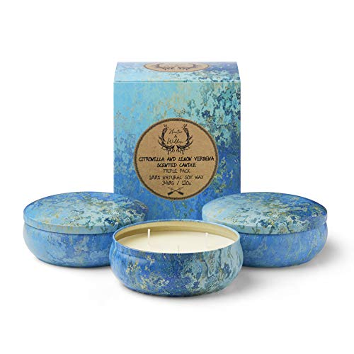 (Hunter & Willow Citronella and Lemon Verbena Soy Scented Candle, Indoor and Outdoor, Triple Pack 3 Wick,)