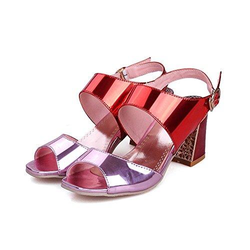 AllhqFashion PU Kitten Pink Solid Toe Heels Buckle Sandals Women's Open rqIRw7r